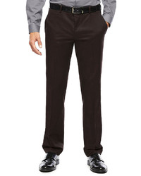 JF J.Ferrar Jf J Ferrar Burgundy Twill Flat Front Dress Pants Super Slim Fit