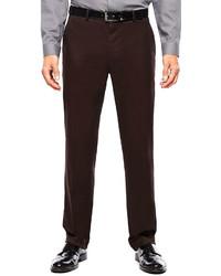 JF J.Ferrar Jf J Ferrar Burgundy Twill Flat Front Suit Pants Slim Fit