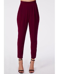 Missguided Louisa Pleat Front Tapered Leg Trousers Burgundy