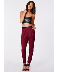 Missguided Uttara High Waisted Tailored Belted Trouser Burgundy