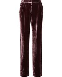 MICHAEL Michael Kors Pleated Velvet Straight Leg Pants