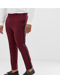 ASOS DESIGN Plus Skinny Tuxedo Suit Trousers In Plum