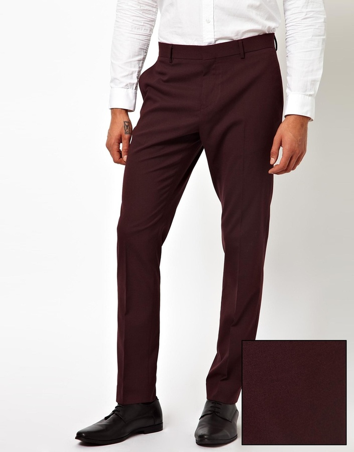 Asos Skinny Fit Suit Trousers In Burgundy | Where to buy & how to wear