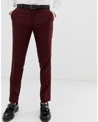 ASOS DESIGN Skinny Smart Trousers In Burgundy