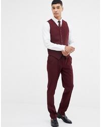ASOS DESIGN Skinny Suit Trousers In Burgundy