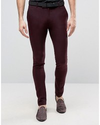 Asos Super Skinny Heritage Smart Pants In Burgundy