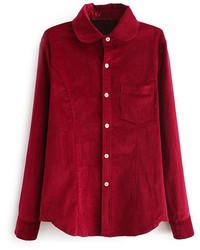 Asymmetric red corduroy shirt medium 129563