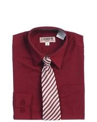 B-One Burgundy Button Up Dress Shirt Gray Striped Tie Set Boys 12