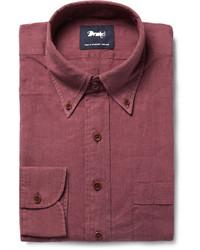 Drakes Drakes Button Down Collar Linen Shirt