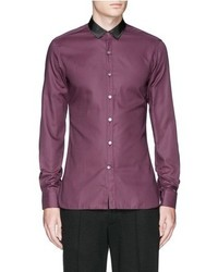 Lanvin Grosgrain Collar Cotton Poplin Shirt