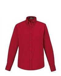 North End Core 365 Operate Red Long Sleeve Twill Button Down Shirt Blouse