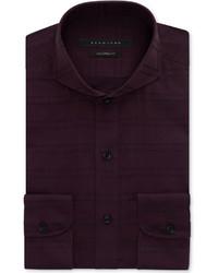 Sean John Oxblood Textured Check Dress Shirt