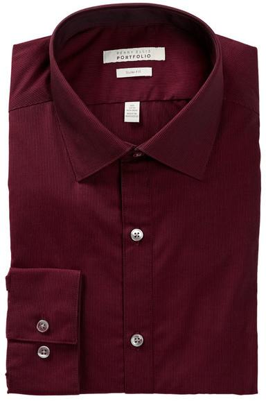 Perry Ellis Long Sleeve Tonal Striped Slim Fit Dress Shirt