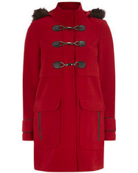 Dorothy Perkins Red Plush Faux Fur Duffle Coat