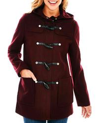 Wool blend hooded toggle coat medium 282733