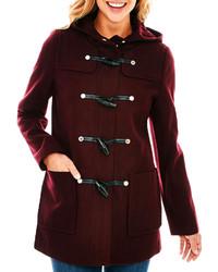 Wool blend hooded toggle coat tall medium 282734