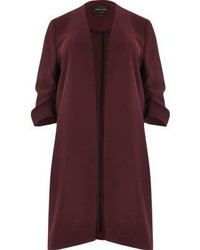 River Island Plus Burgundy Ruched Sleeve Duster Coat