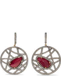Amrapali 14 Karat Gold Silver Ruby And Diamond Earrings Red