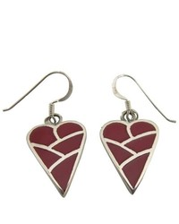 FashionJewelryForEveryone Coral Heart Inlaid Sterling Silver Inlaid Heart Red Coral Earrings
