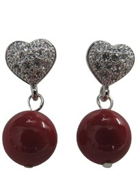 FashionJewelryForEveryone Prom Girl Jewelry Red Pearls Heart Post Earrings