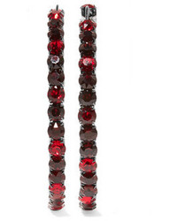 Givenchy Earrings In Gunmetal Tone Brass And Burgundy Crystal One Size