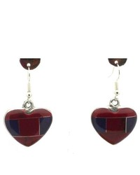 Global Crafts Red Heart Shaped Jasper Alpaca Silver Earrings
