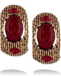 Oscar de la Renta Gold Plated Crystal Earrings