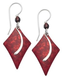 Jody Coyote Patina Brass Earrings Red Diamond And Glass Bead Drop Earrings