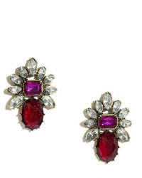 Pretty Principessa Burgundy Rhinestone Earrings