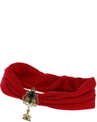 Topshop Freedom At 100% Fabric Red Fabric Turban Style Headband With Antique Gold Look Detail At The Front Unstretched Width 95inches