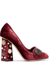 Dolce & Gabbana Embellished Velvet Pumps Red