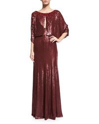 Jenny Packham 34 Sleeve Round Neck Embellished Gown Merlot