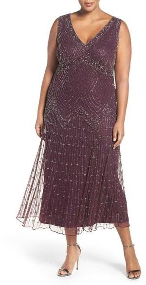 $228, Pisarro Nights Plus Size Chevron Motif Sleeveless Embellished Midi  Dress
