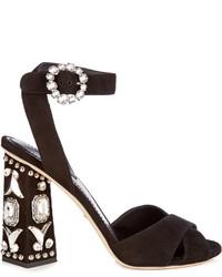 Dolce & Gabbana Crystal Embellished Block Heel Suede Sandals