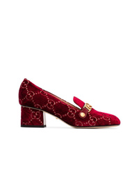 Gucci Red Sylvie 55 Velvet And Leather Pumps