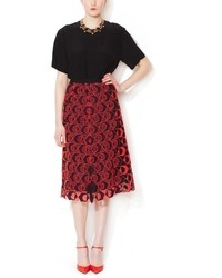 Cotton embroidered a line skirt medium 35467