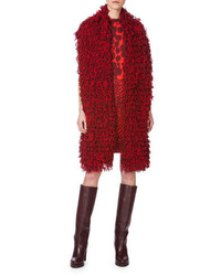Akris Bicolor Loop Embroidered Scarf Miracle Berry Red