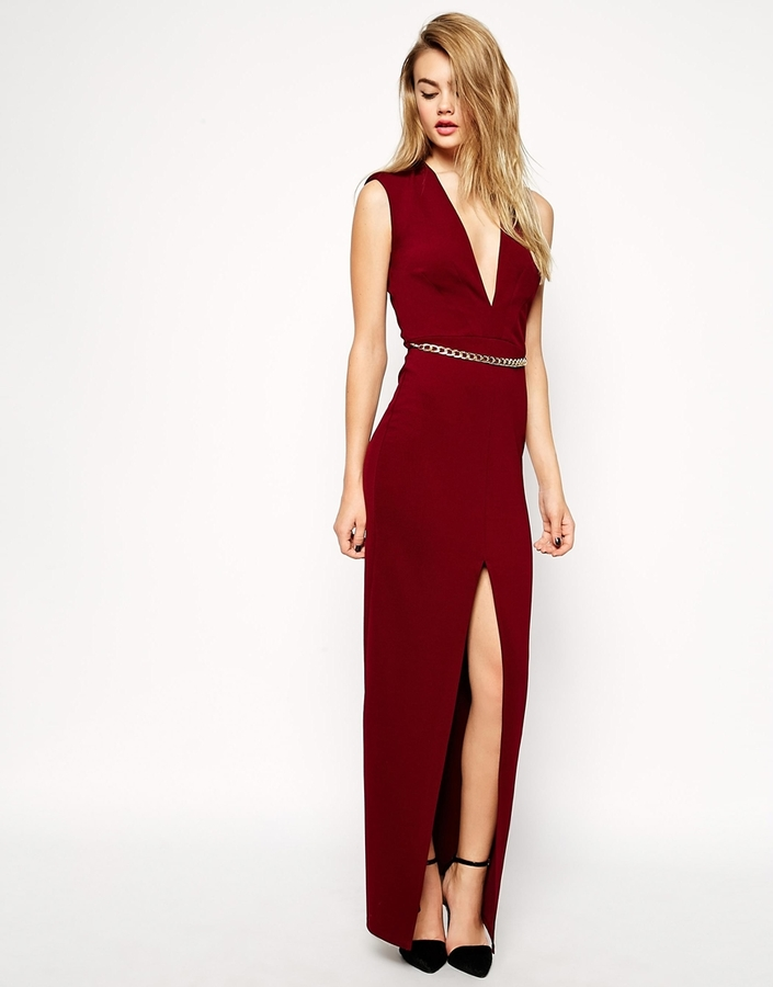 Asos ASOS COLLECTION ASOS Deep Plunge Maxi With Belt | Where to buy ...