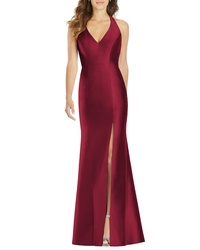 Alfred Sung Halter Neck Sa Twill Trumpet Gown