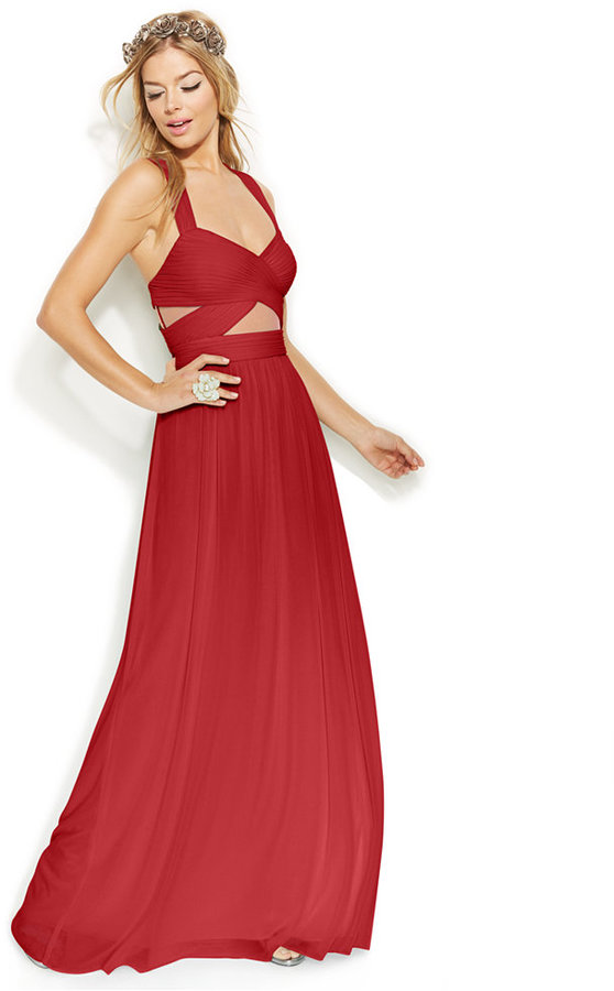 Betsy & Adam Sleeveless Illusion Cutout Gown   Where to buy & how to ...