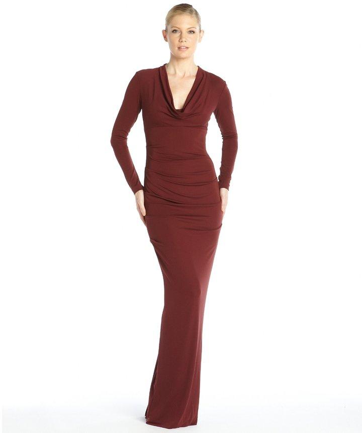 Nicole Miller Wine Stretch Jersey Blaine Long Sleeve Open Back Gown ...