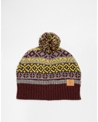 Brand fair isle bobble beanie hat in wool blend medium 116152