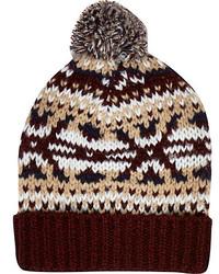 River Island Dark Red Fair Isle Beanie Hat