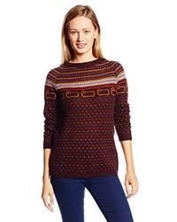 Burgundy Fair Isle Crew-neck Sweater