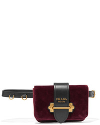 Prada Leather Trimmed Velvet Belt Bag Burgundy
