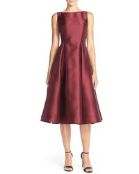 Burgundy Fit and Flare Dress