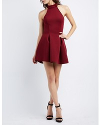 Charlotte Russe Mock Neck Scuba Skater Dress