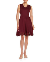 Chetta B Crochet Trimmed Fit And Flare Dress