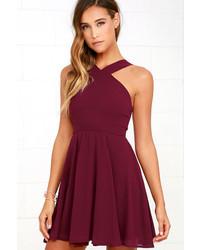 LuLu*s Forevermore Burgundy Skater Dress
