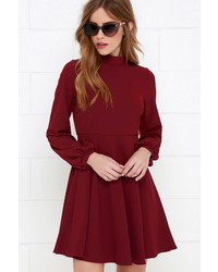 LuLu*s Got The Notion Wine Red Long Sleeve Dress